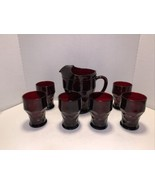 Vintage Anchor Hocking Ruby Royal Red Georgian Pitcher & 6 Glasses - $95.00