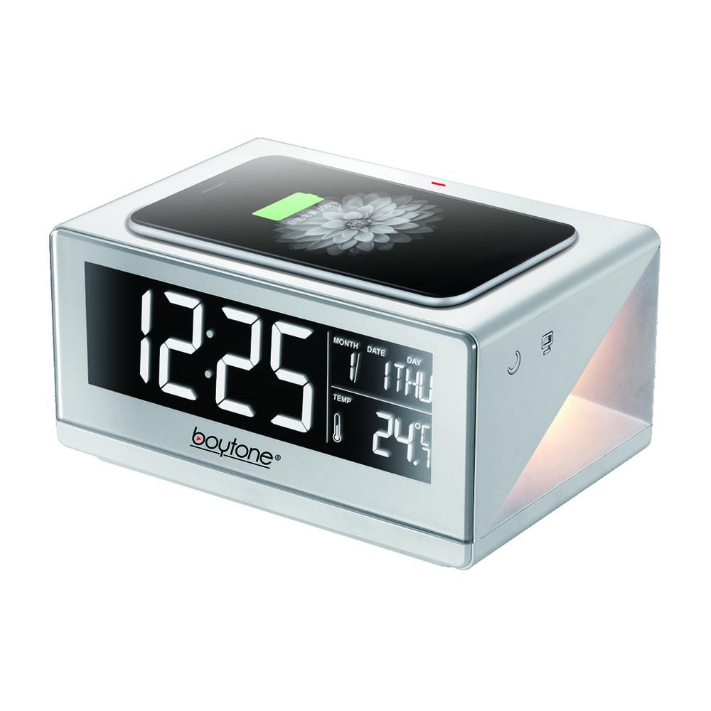 Boytone BT-12W Fast Wireless Charging Digital Alarm Clock with Temperature & Cal
