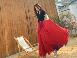 Floor Length Chiffon Maxi Skirt Purple Red Maxi Chiffon Skirt with Belt Outfit image 3