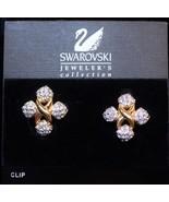 Vintage Swarovski Swan Crystal Maltese Cross Clip Earrings Hang Tag Card - $89.08