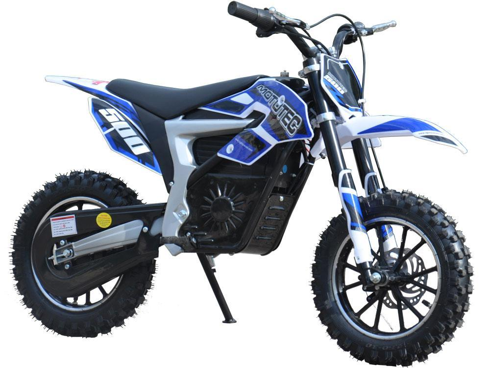 Electric Dirt Bike MotoTec 36V 500W Lithium Blue Motorcycle 3 Speeds Key Lock