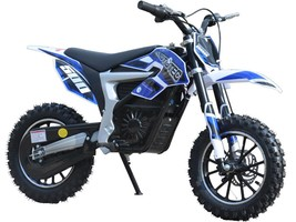 Electric Dirt Bike MotoTec 36V 500W Lithium Blue Motorcycle 3 Speeds Key Lock image 1