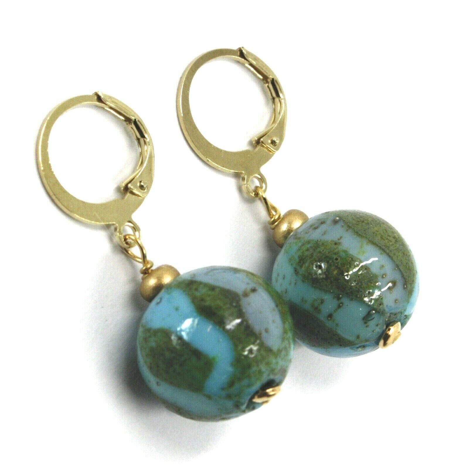 Earrings Antica Murrina Venezia, OR630A07, Sphere Banded, Blue Green