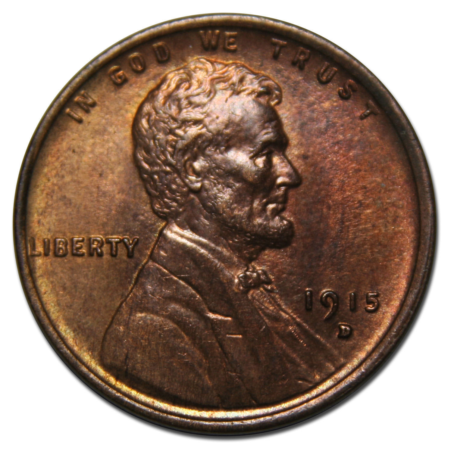 1915D  One Cent Lincoln Head Penny Coin Lot# MZ 3477