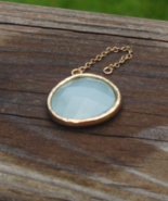 Faceted Blue Chalcedony Pear Shaped Focal Pendant - $1.00