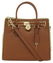 Michael Kors Large Hamilton Ns Luggage Brown Dark Gold Whipstitch Tote Bag*Nwt* - $298.00