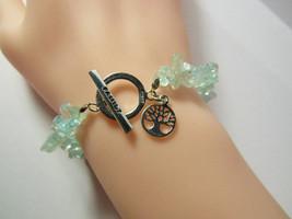 Sterling Silver FAMILY Tree of Life Dangle Charm Bracelet Light Blue Top... - $19.80