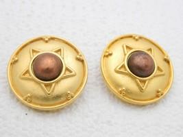 VTG LCI Liz Claiborne Gold Tone Bronze Cabochon Star Clip Earrings - $19.80