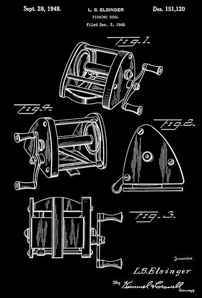 Primary image for 1948 - Fishing Reel - L. S. Elsinger - Patent Art Poster