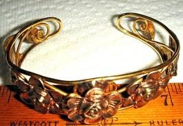 VTG 12K GOLD FILLED on STERLING SILVER ROSE PENDANT ROSES CUFF BRACELET ... - $237.99