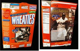 Wheaties Cereal Box Flat Empty Jackie Robinson 50th Anniversary 1997 - $16.99