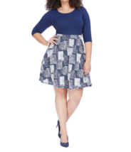 Gilli Womens Dress 1X ?? Navy And White Twofer Fit And Flare 3/4 Sleeves... - $11.52