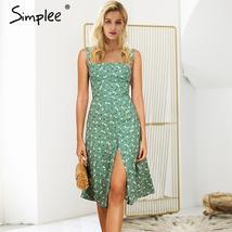 Print Strap Vintage Dress Summer 2019 Split Zipper Backless Casual Dress Women - $29.81