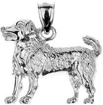 Polished 925 Sterling Silver Labrador Retriever Dog Charm Pendant - $51.39