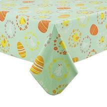 Chicks, Bunnies and Decorated Easter Eggs Vinyl Tablecloth Flannel Backe... - $19.79
