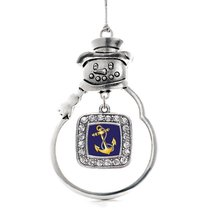 Inspired Silver Navy Anchor Classic Snowman Holiday Christmas Tree Ornament With - $14.69