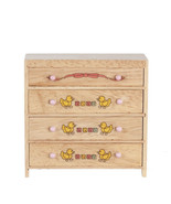 DOLLHOUSE MINIATURES OAK 4-DRAWER CHEST WITH ABC DESIGN #T4418 - $13.30