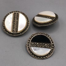 Vintage Sterling Silver Clip On Earrings & Brooch Set Jewelry Mid Century - $78.20