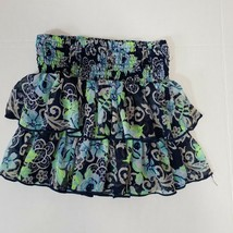Justice Girls Skirt Skort Size 10 Blue Green Floral Tiered Ruffled Smock... - $10.00