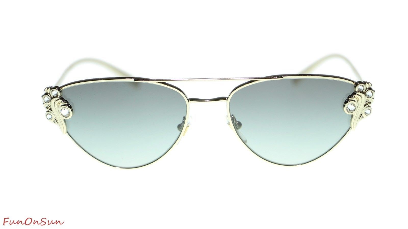 Versace Cat Eye Women Sunglasses VE2195 125211 Pale Gold Grey Lens Gradient 56mm