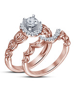 Rose Gold Finish Sterling Silver Simulated Diamond Engagement Bridal Rin... - $76.23