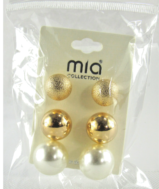 Primary image for Mia Collection Sphere Ball Design and Polish Stud Earrings 3 Sets USA Lot of 12