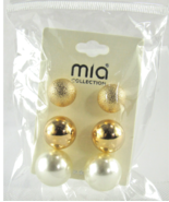 Mia Collection Sphere Ball Design and Polish Stud Earrings 3 Sets USA Lo... - $32.97