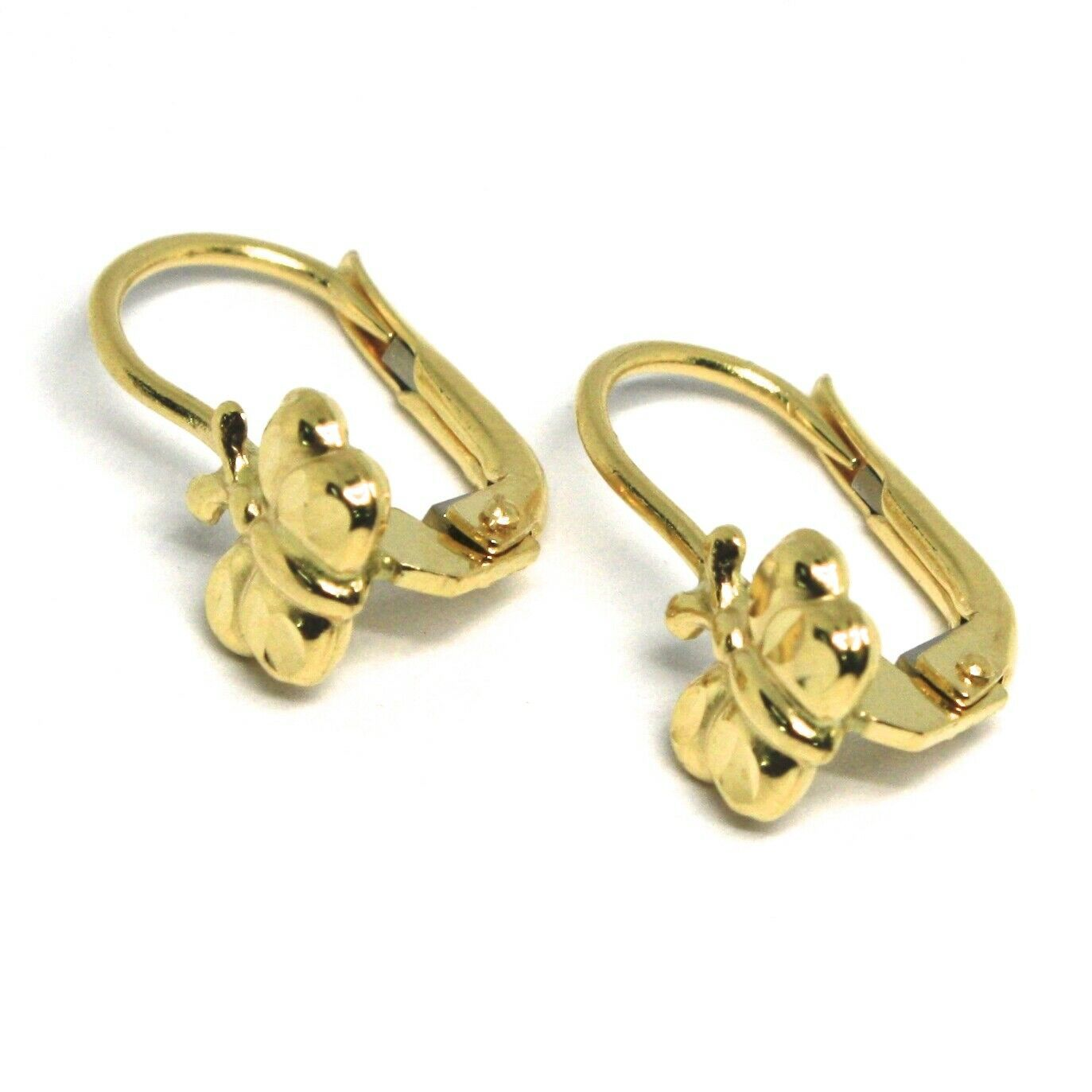 18K YELLOW GOLD KIDS EARRINGS, HAMMERED BUTTERFLY, LEVERBACK CLOSURE, ITALY MADE