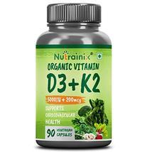 Krishna Nutrainix Organic Vitamin d3 5000iu + K2 as MK7 200mcg Supplemen... - $49.61
