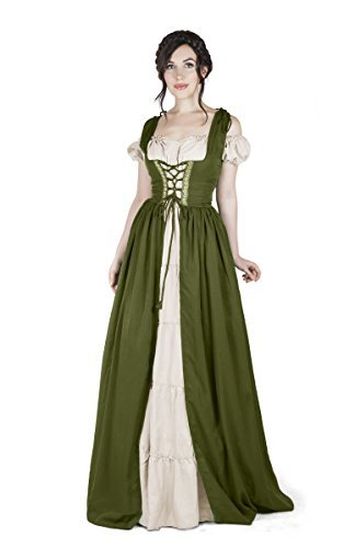 Renaissance Medieval Irish Costume Over Dress & Boho Chemise Set (2XL/3XL, Olive
