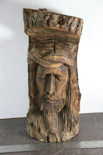 "Vintage 15"" Tall Hand Carved Wood Sculpture of a Man Male Face Figure"