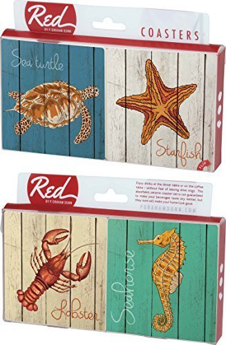 Turtle, Starfish, Lobster, Seahorse on Wood Panel Look 4 Piece Absorbent Ceramic