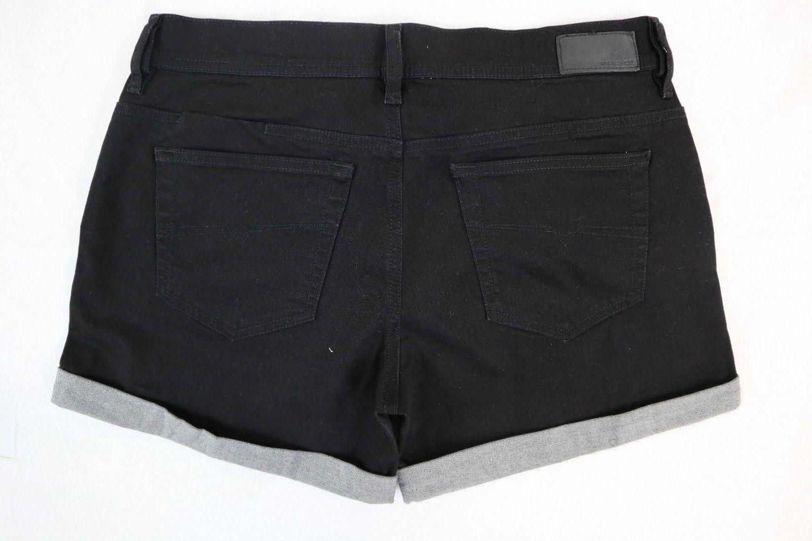 NWT DIESEL Women's Black Alaisi Stretch Cuffed Denim Jean Shorts 29 x 4
