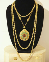Vintage Carnelian Jade Glass & Chain Filigree Pendant Assemblage Gypsy N... - $90.00