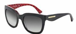 Dolce & Gabbana Women Square Sunglasses DG4197 2871/8G Black/Red Frame Grey Lens - $133.19