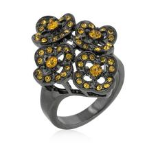 Black Mystique Yellow Crystal Floral Ring - $28.00
