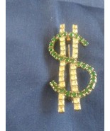 Vintage Rhinestone Dollar Sign Pin Brooch - $12.00