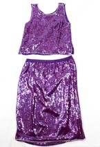 80's Jewel Queen Womens Skirt Two Piece Sequinned Purple Beaded SILK Size S - $42.53