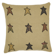 3-pc Stratton Pillow Set - 2 Applique Star and 1 Burlap Natural - VHC Brands
