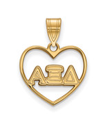 Ss/Gold Plated Sterling Silver With Gp Logoart Alpha Xi Delta Heart Pend... - $33.57