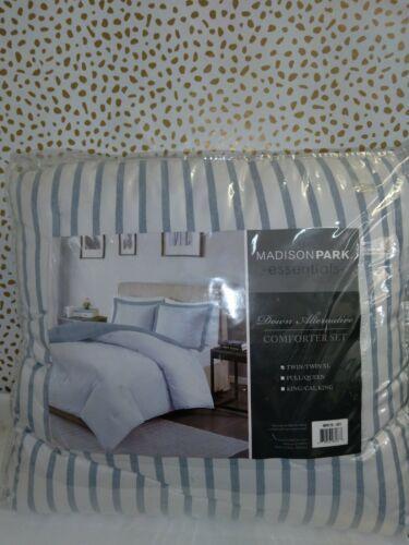 Luxury Blue & White Reversible Striped Down Alternative Comforter AND Shams
