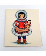 Dolls of Many Lands Card Eskimo Vintage Blank Note Card for Collage, Eph... - $2.50