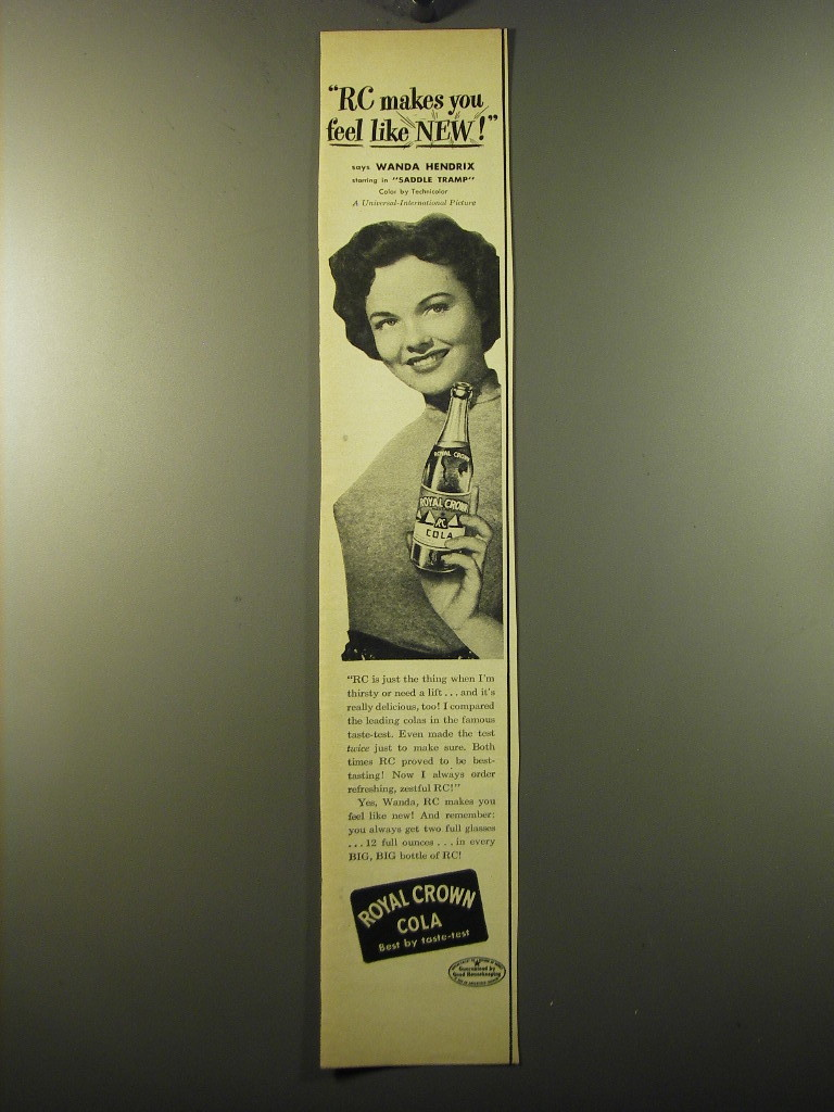 Primary image for 1950 RC Royal Crown Cola Advertisement - Wanda Hendrix