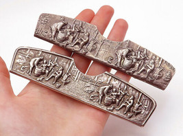 DENMARK 925 Silver - Vintage 2 Pcs Sculpted Scene Dutch Style Comb Cases- T2056 - $140.72