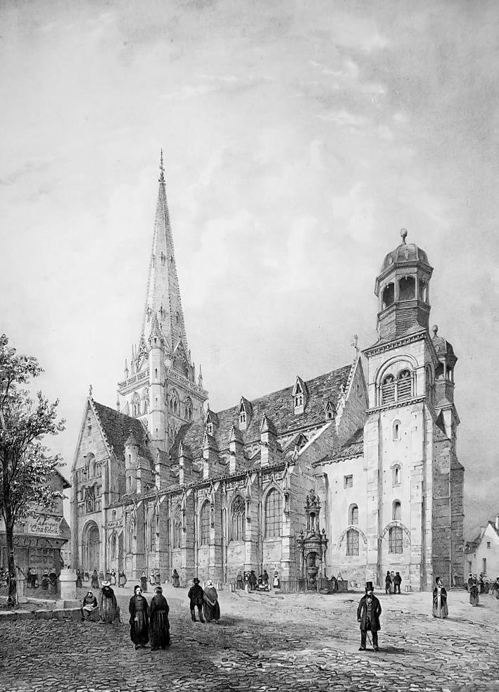 FRANCE Autun Main Square & Cathedral - SUPERB 1843 Antique Print