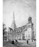 FRANCE Autun Main Square & Cathedral - SUPERB 1843 Antique Print - $39.60