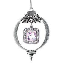 Inspired Silver Unicorn Emoji Classic Holiday Christmas Tree Ornament - $14.69