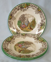 Spode Byron Bread Plate Multi Color with Green Trim Set of 3 - $28.60