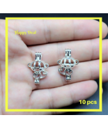 10 pcs Pearl Cage Pendant Shape Cute Monkey Bright Silver Trendy Locket ... - $14.80