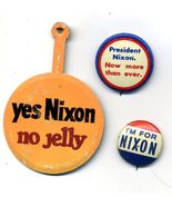 3 Vintage DICK NIXON Political Pinback Button Pin Set - $13.99